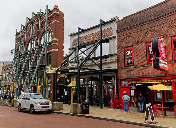 Memphis TN Beale Street, shaky façades
