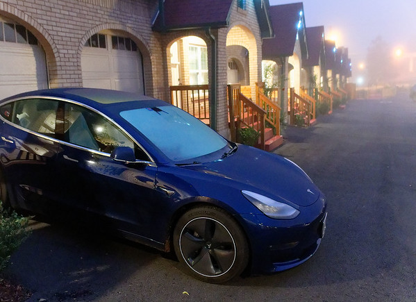 DAY 3:  Hot Springs AR – Best Court, Tesla charging in the early morning fog