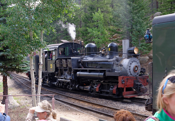 Shey-type locomotive, oil-burning, steam driven, geared low, top speed in on the front of the boiler unless it falls off a cliff