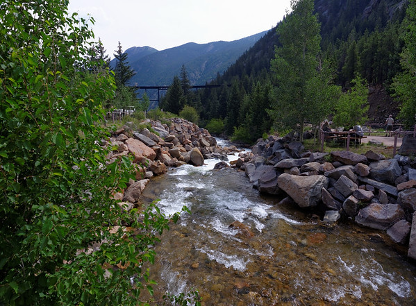 Clear Creek and the high train trestle, necessary to gentle the steep grade by using both sides of the valley's mountains