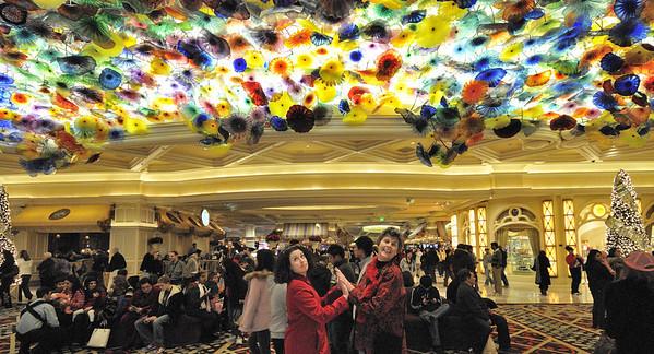 glass parasol lights, Bellagio Hotel lobby