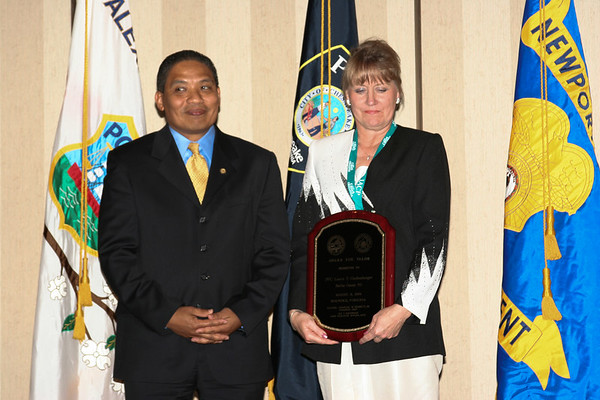IMG_43363PFC Lance T. Guckenberger, Fairfax County Police Department (PFC Guckenberger could not attend the  ceremony, so Deputy Chief Suzanne Devlin, pictured with Secretary Marshall, accepted the award on his behalf.)