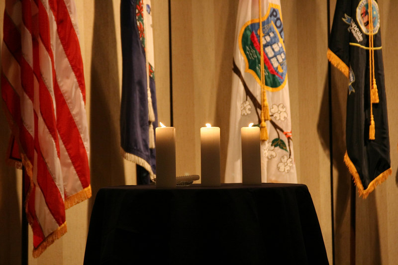 <b>IMG_43382</b><br>Candles were lit in memory of Officer Michael K. Saffran, Chesapeake Police Department, and Officer Gary J. Buro, Chesterfield County Police Department, who were honored posthumously with the Award for Valor.