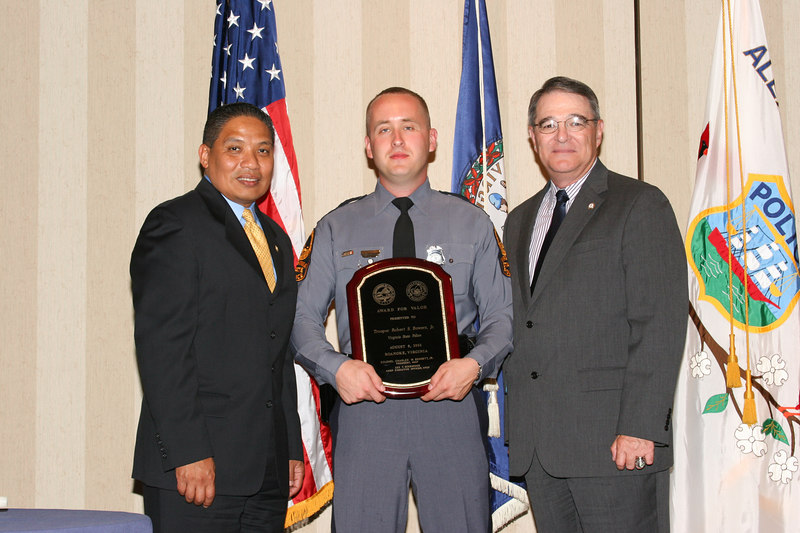 <b>IMG_43443</b><br>2006 Valor Award Recipient Trooper Robert S. Bowers, Jr., Virginia State Police with Secretary Marshall and Colonel Steve Flaherty, Superintendent, Virginia State Police