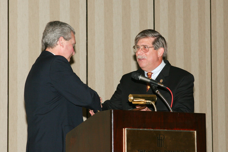 <b>IMG_43402</b><br>2006-2007 VACP President Mike Yost presents Immediate Past President Colonel Charles W. Bennett, Jr. with the Past President's Award