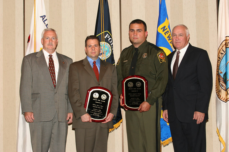 <b>IMG_43432</b><br>Chesterfield County Police Department Valor Award Recipient Officer Joseph Diman with representative for  Officer Gary Buro, posthumous honoree, and Colonel Baker (right)