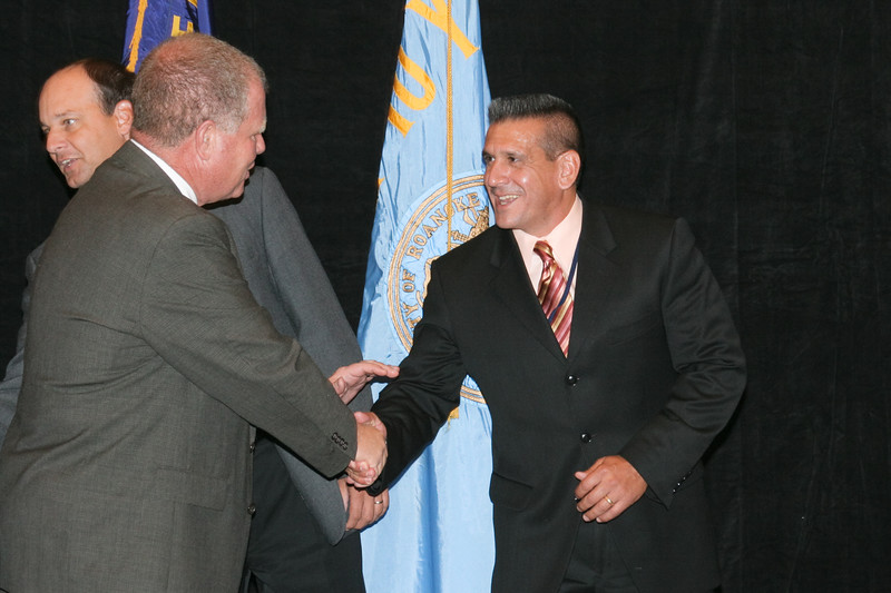 <b>IMG_70396</b><br>Chief Tim Longo (Charlottesville) is welcomed as the newest member of the Executive Board