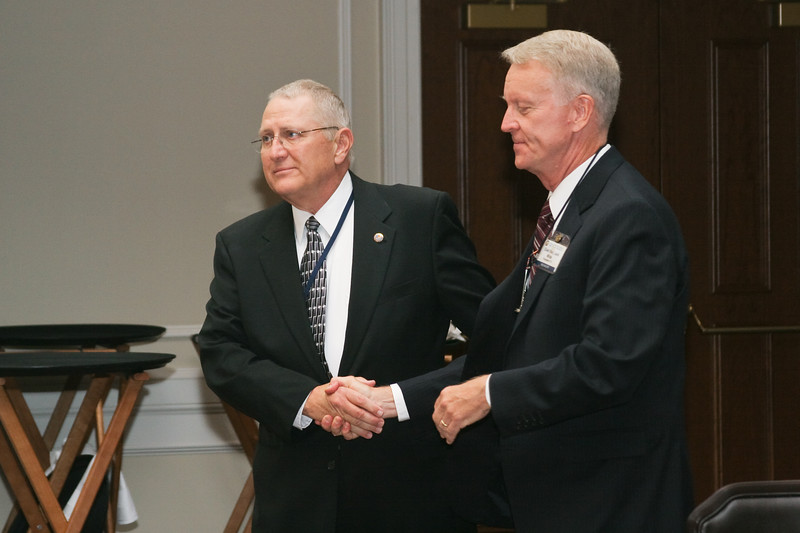 <b>IMG_70376</b><br>Mr. Lex Eckenrode, CEO of the Virginia Police Chiefs Foundation, was honored with the 2007 VACP President's Award from 2006-2007 President Chief Mike Yost (Williamsburg)
