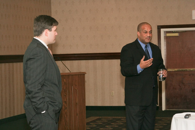 <b>IMG_55023</b><br>Victor Cardwell (right) and Thomas Winn, attorneys with Woods Rogers, spoke on the Fair Labor Standards Act.
