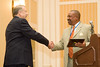2007-2008 VACP President Chief Ray Lavinder, Roanoke Co. PD (left), presents Chief Joe Gaskins, Roanoke PD, with the 2008 VACP President's Award.