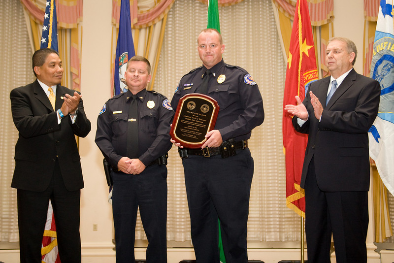 <u>2008 VACP/VPCF Valor Award Recipient:</u> Lieutenant Kevin Testerman, Chilhowie Police Department (others, l. to r.: The Honorable John Marshall, Secretary of Public Safety; Chilhowie Police Chief Stephen Price; and Roanoke Co. Police Chief Ray Lavinder, 2007-2008 VACP President.)
