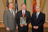 (l. to r.) 2008-2009 VACP President Colonel Rick Rappoport, City of Fairfax PD; The Honorable John L. Brownlee, 2008 VACP/VPCF Outstanding Contribution to Law Enforcement Award recipient; and 2007-2008 VACP President Chief Ray Lavinder, Roanoke Co. PD.
