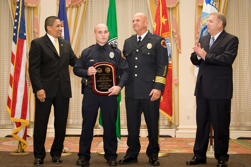 <u>2008 VACP/VPCF Valor Award Recipient:</u> Officer Joshua Wright, Bluefield Police Department (others, l. to r.: The Honorable John Marshall, Secretary of Public Safety; Bluefield Police Chief Harry Cundiff; and Roanoke Co. Police Chief Ray Lavinder, 2007-2008 VACP President.)