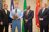 """<u>2008 VACP/VPCF Valor Award Recipient:</u> Police Officer Specialist Norwood """"Trea"""" King, Chesapeake Police Department (others, l. to r.: The Honorable John Marshall, Secretary of Public Safety; Chesapeake Police Chief Kelvin Wright; and Roanoke Co. Police Chief Ray Lavinder, 2007-2008 VACP President.)"""