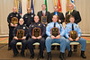 "<u>2008 Award Recipients</u>: (front, l. to r.) Officer Joshua Wright, Bluefield PD; Lt. Kevin J. Testerman, Chilhowie PD; Police Officer Specialist Raymond Kerr, Chesapeake PD; Police Officer Specialist Norwood ""Trea"" King, Chesapeake PD; (back, l. to r.) Officer Shaun P. Chukya, Roanoke Co. PD; Officer Spencer D. Lewis, Roanoke Co. PD; The Honorable John L. Brownlee; Deputy Richard B. Garland, Franklin County Sheriff's Office; and Deputy Brad M. Campbell, Franklin Co. Sheriff's Office."