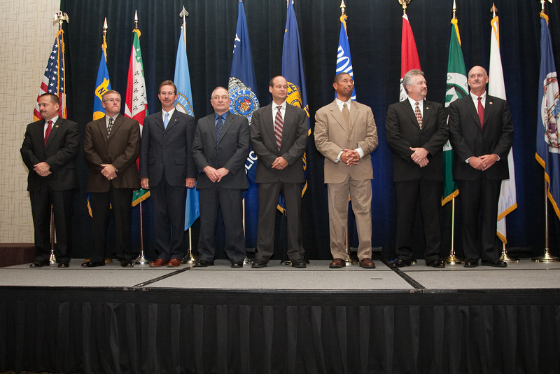 2010-11 VACP Executive Board is installed:<br /> (L. to r.) Col. David M. Rohrer, Fairfax County Police; Col. Thierry G. Dupuis, Chesterfield County Police; Chief Mark A. Marshall, Smithfield Police; Chief Gary Roche, Pulaski Police; 3rd Vice President Chief Jim Williams, Staunton Police; 1st Vice President Chief Bruce Marquis, Norfolk Police; President Chief Douglas L. Davis, Waynesboro Police; and Immediate Past President Chief M. Douglas Scott, Arlington County Police.<br /> (Not pictured: Chief Tim Longo, Charlottesville Police; and 2nd Vice President Chief Rick Clark, Galax Police)