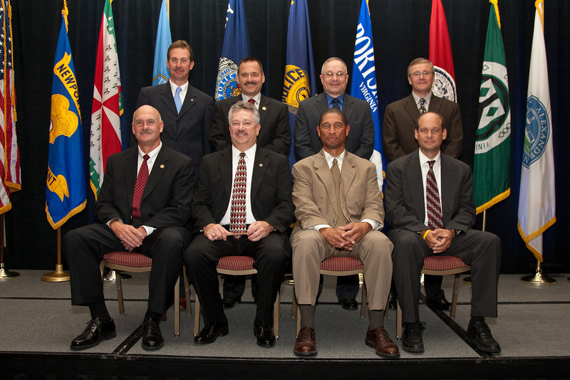 2010-11 VACP Executive Board:<br /> (Front row, l. to r.) Immediate Past President Chief M. Douglas Scott, Arlington County Police; President Chief Douglas L. Davis, Waynesboro Police; 1st Vice President Chief Bruce Marquis, Norfolk Police; and 3rd Vice President Chief Jim Williams, Staunton Police.<br /> (Back row, l. to r.) Chief Mark Marshall, Smithfield Police; Colonel David Rohrer, Fairfax County Police; Chief Gary Roche, Pulaski Police; and Colonel Thierry G. Dupuis, Chesterfield County Police.<br /> (Not pictured: Chief Tim Longo, Charlottesville Police and 2nd Vice President Chief Rick Clark, Galax Police)