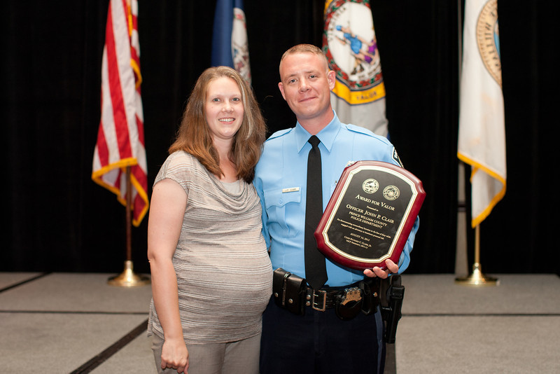 2012 VACP Award for Valor recipient, Prince William County Police Officer John Clair and wife.