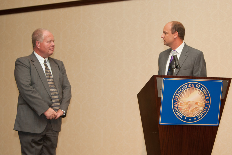 Chief Clark hands over the reins to newly installed 2012-13 VACP President Chief Jim Williams, Staunton.