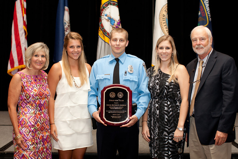 2012 VACP Award for Valor recipient, Prince William County Police Officer Matthew Andersen and family.