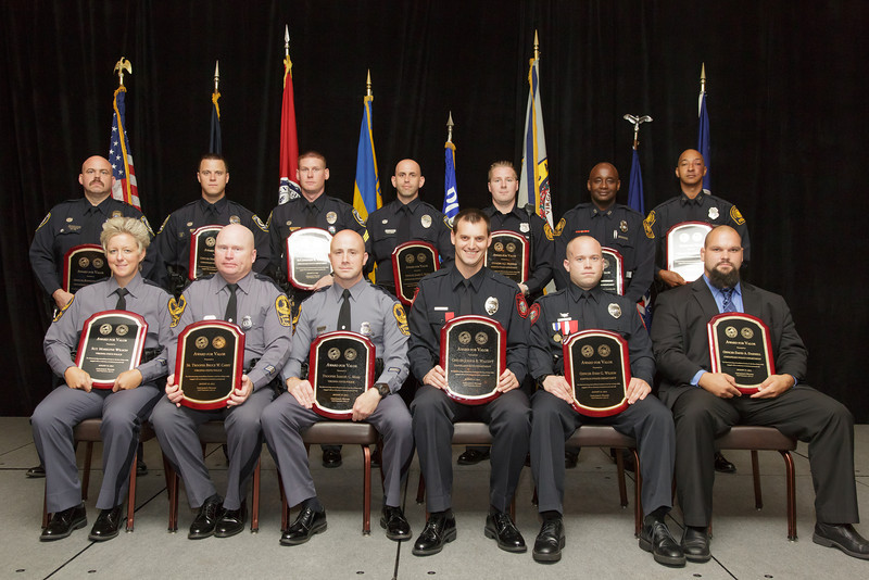 2013 VACP/VPCF Award for Valor Recipients: (front, L to R) Sgt. Marilyne Wilson, Senior Trooper Bruce W. Carey, and Trooper Samuel C. Moss, Virginia State Police; Officer Joshua Walcott and Officer Evan Wilson, Danville Police Department; and Officer David A. Dashiell, Chesapeake Police Department.  (back, L to R) Officer Kenneth L. Smith, Officer Stanford W. Allen, Sgt. Jonathan R. Williams and Police Officer Specialist James C. Rider, Chesapeake Police Department; Officer A.J. Mondie, Norfolk Police Department; Officer Ray Anderson and Officer Brad Dotson, Portsmouth Police Department.