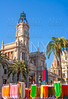 Valencia Ayuntamiento city town hall with fallas flags
