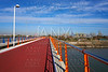 Valencia port view from bridge in Pinedo