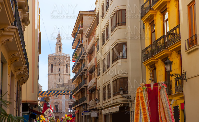 Miguelete Micalet in Valencia in Fallas view from Navellos street Spain