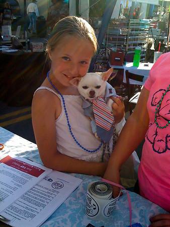little girl & her HSM Zack chihuahua @ VAP table-NB Block Party, WA 6-2009