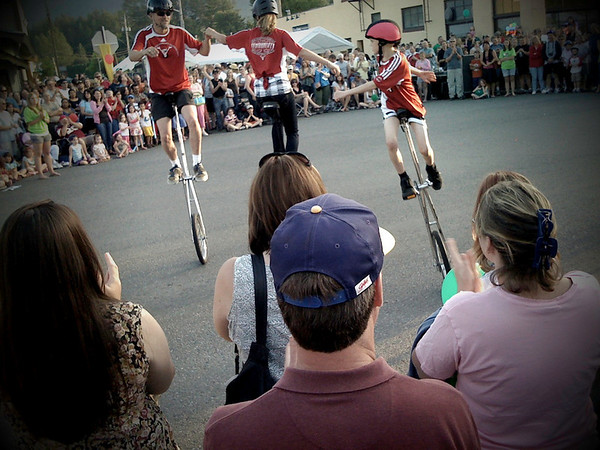 unicyclists keeping it all in the family-North Bend Block Party, WA 6-2009