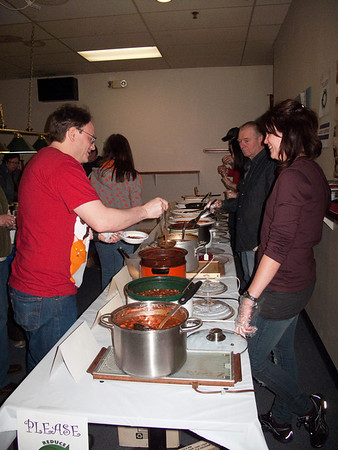 volunteer Janet Thorpe working the chili table @ VAP's 2nd Annual Dessert Auction & Chili Dinner<br /> Snoqualmie, WA - 2/2010