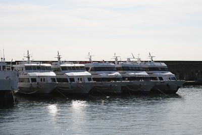 2009 - The fleet of NAVIGAZIONE LIBERA DEL GOLFO in Napoli : SORRENTO JET, CAPRI JET, AMALFI JET, NAPOLI JET, ISCHIA JET.