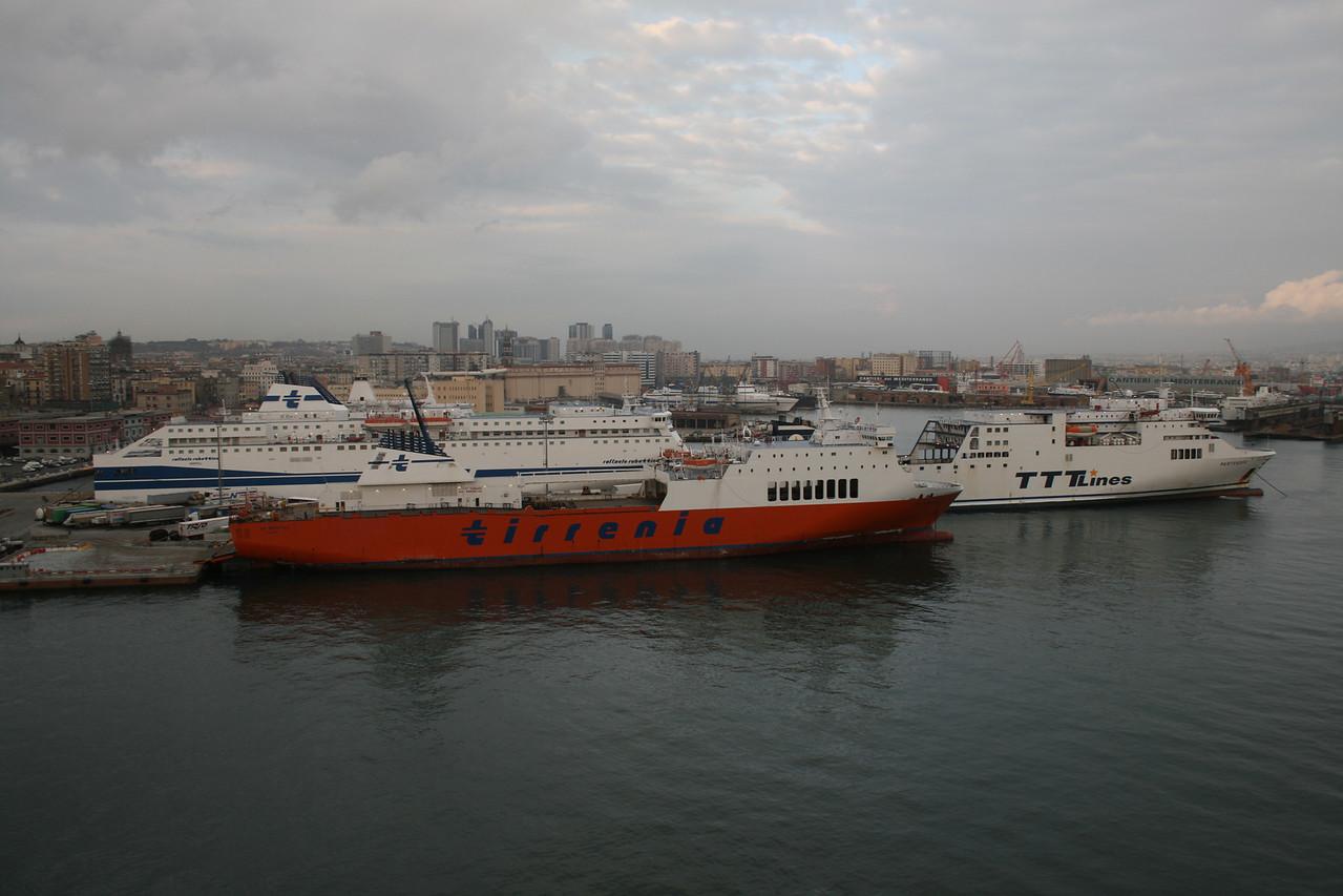2009 - Port of Napoli : passenger and truck embarking area with M/S VIA ADRIATICO, RAFFAELE RUBATTINO and TRINACRIA. At the back technical areas and shipyards.