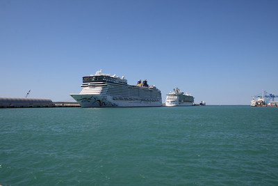2011 - Port of Civitavecchia: a view to the cruise pier with NORWEGIAN EPIC and LIBERTY OF THE SEAS.
