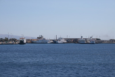 2010 - Bluvia terminal at the port of Messina. The ships are AMEDEO MATACENA, MONGIBELLO, SELINUNTE JET, REGGIO, ROSALIA and VILLA.