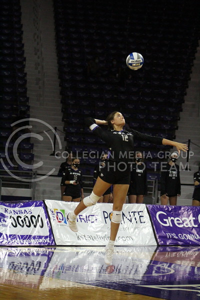 Focused, number 12 prepares to spike the ball during the K-State volleyball game against Iowa State at Bramlage Coliseum on Sept. 25, 2020.
