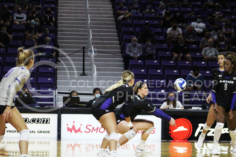 Ready to make contact  during the K-State volleyball game against Iowa State at Bramlage Coliseum on Sept. 25, 2020. (Jordan Henington | Collegian Media Group)