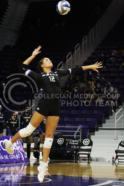 Lauren Hinkle focuses on the ball  during the K-State volleyball game against Iowa State at Bramlage Coliseum on Sept. 25, 2020. (Jordan Henington | Collegian Media Group)