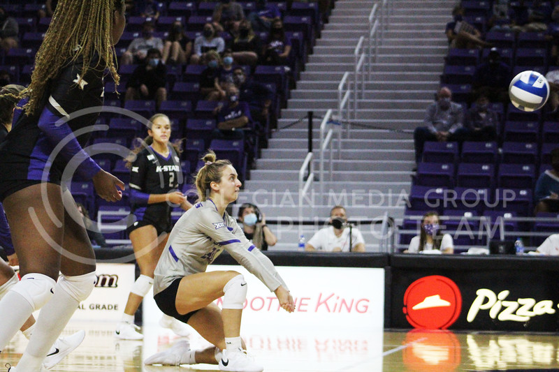 Mackenzie Morris Gets down and ready to pass the ball  during the K-State volleyball game against Iowa State at Bramlage Coliseum on Sept. 25, 2020. (Jordan Henington | Collegian Media Group)