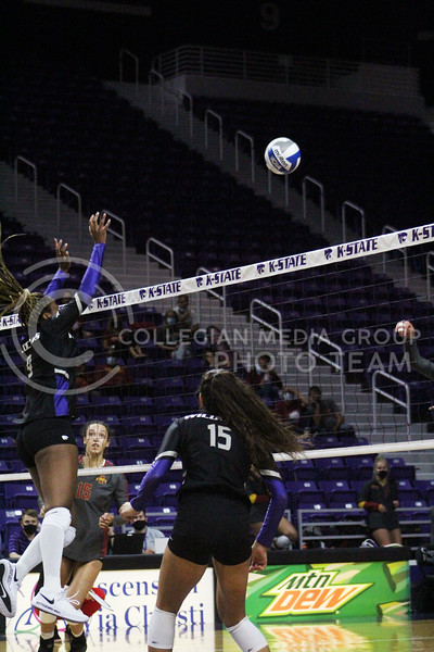 Abigail Archibong Reaches over the net  during the K-State volleyball game against Iowa State at Bramlage Coliseum on Sept. 25, 2020. (Jordan Henington | Collegian Media Group)