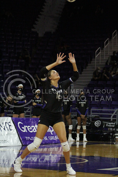 Watching the ball, Lauren Hinkle prepares to set to a teammate  during the K-State volleyball game against Iowa State at Bramlage Coliseum on Sept. 25, 2020. (Jordan Henington | Collegian Media Group)