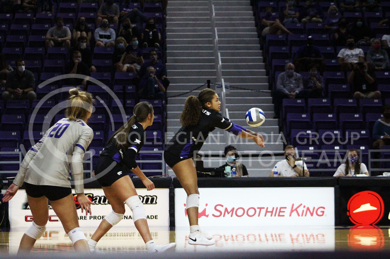 Teana Adams-Kaonohi makes contact with the ball  during the K-State volleyball game against Iowa State at Bramlage Coliseum on Sept. 25, 2020. (Jordan Henington | Collegian Media Group)