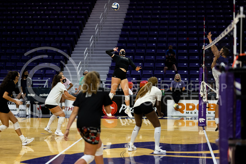 Kansas State University, women's volleyball team, practices at Bramlage Coliseum as the first match nears. September 4, 2020. (Dylan Connell | Collegian Media Group)
