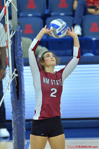 September 18, 2015: Taylor Livoti sets a ball in a match between New Mexico State and No. 16 Arizona at McKale Memorial Center in Tucson, Ariz.