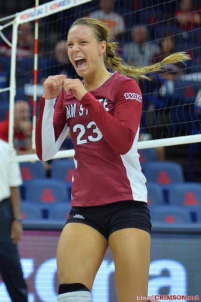 September 18, 2015: Gwen Murphy celebrates a point in a match between New Mexico State and No. 16 Arizona at McKale Memorial Center in Tucson, Ariz.