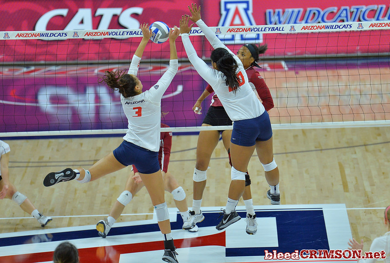 September 18, 2015: Sasha-Lee Thomas gets a ball past the Arizona blockers in a match between New Mexico State and No. 16 Arizona at McKale Memorial Center in Tucson, Ariz.