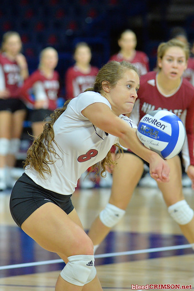 September 18, 2015: Kaylee Neal digs a ball in a match between New Mexico State and No. 16 Arizona at McKale Memorial Center in Tucson, Ariz.