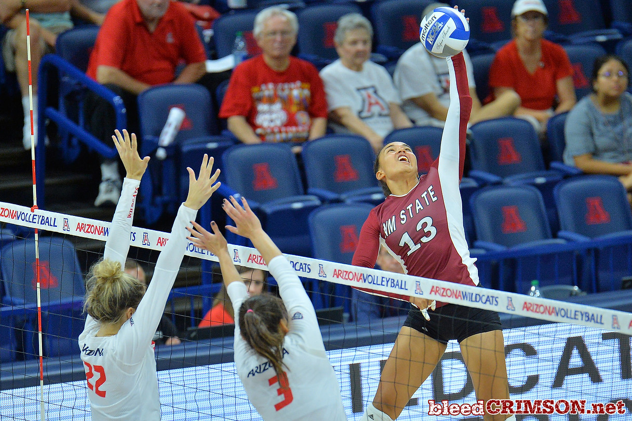 September 18, 2015: Nathalie Castellanos attacks a ball in a match between New Mexico State and No. 16 Arizona at McKale Memorial Center in Tucson, Ariz.