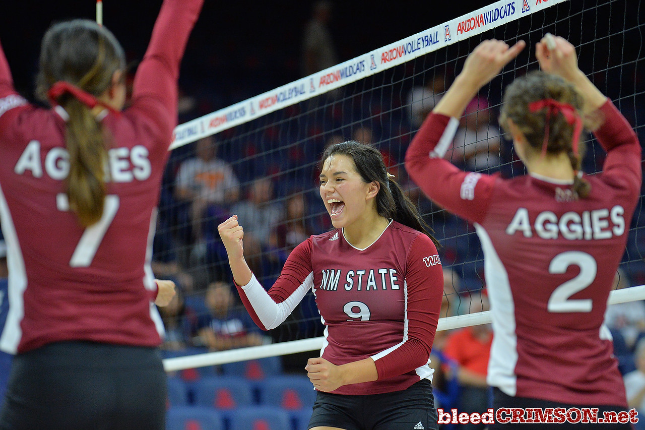 September 18, 2015: Bradley Nash celebrates a point in a match between New Mexico State and No. 16 Arizona at McKale Memorial Center in Tucson, Ariz.