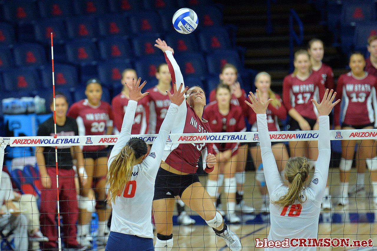 September 18, 2015: Gwen Murphy attacks a ball in a match between New Mexico State and No. 16 Arizona at McKale Memorial Center in Tucson, Ariz.